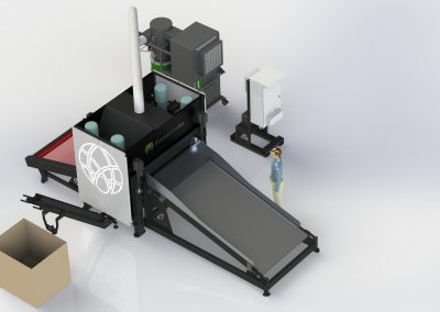 FiberTrack 660 with In-Feed Conveyor, Shaker Table, Hurd Out-Feed Conveyor, and Vacuum System