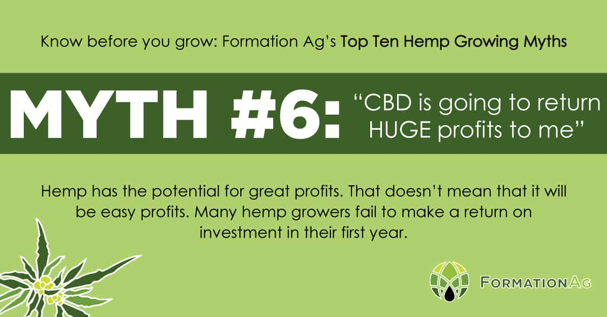 "Myth #6: ""CBD is going to return HUGE profits to me"""