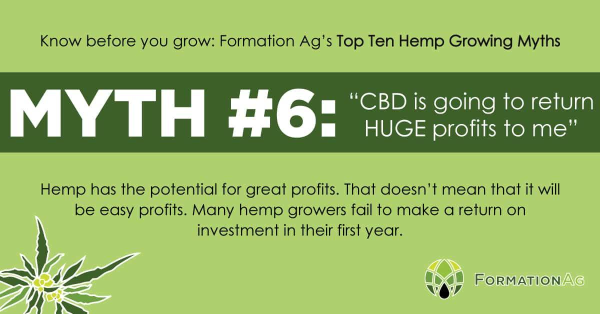 "Myth #6: ""CBD is going to return HUGE profits to me"""