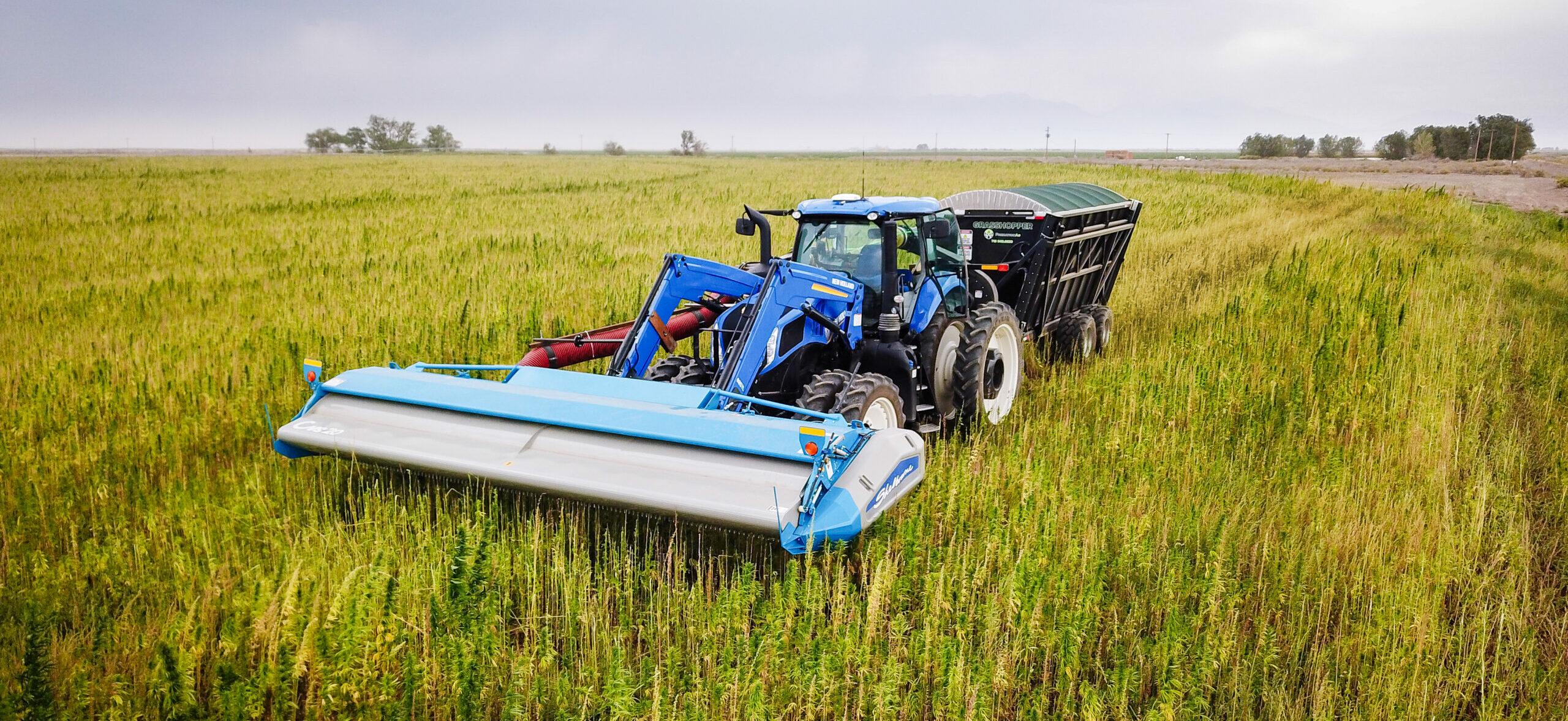 CleanStrip Harvester in Colorado Hemp Field